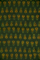 Dark Green Ajrak Cotton Fabric