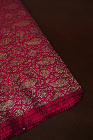 Pink Brocade Banarasi Silk Fabric