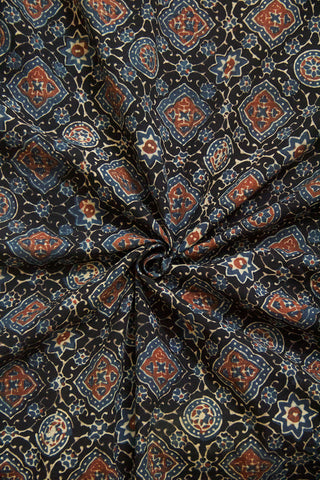Black with Indigo Ajrak Cotton Fabric