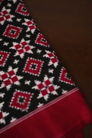 Black with Red Telia Rumal Ikat Fabric