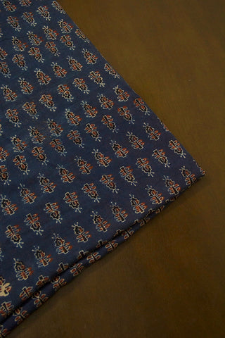 Ink Blue Ajrak Cotton Fabric-2 m