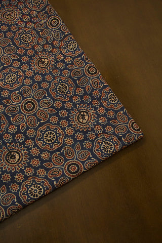Indigo with Maroon Paisley Ajrak Cotton Fabric