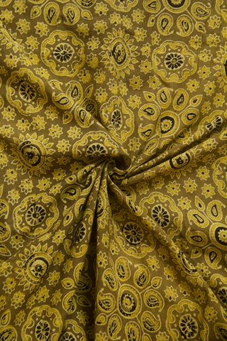 Yellowish Green Paisley Ajrak Cotton Fabric