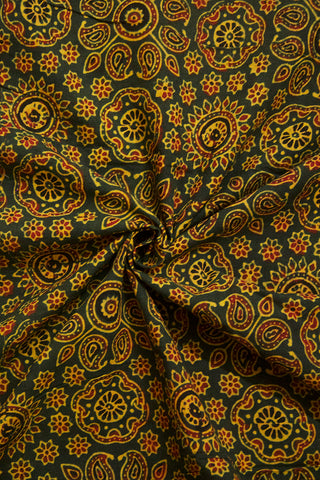 Dark Green with Maroon Paisley Ajrak Cotton Fabric