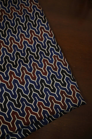 Indigo with Maroon and Black Ajrak Modal Silk Fabric