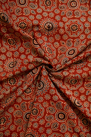 Maroon Paisley Ajrak Cotton Fabric