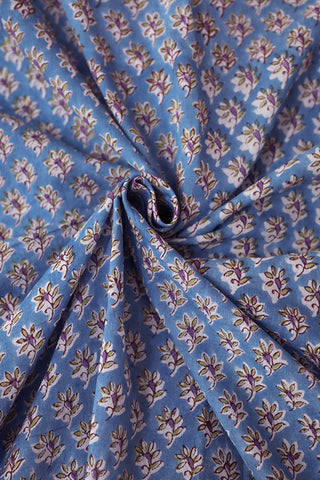 Blue with purple Block Printed Mul Cotton Fabric