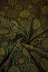 Green Floral Ajrak Modal Silk Fabric