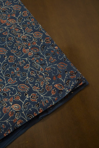 Blue with Maroon Lotus Floral Ajrak Cotton Fabric