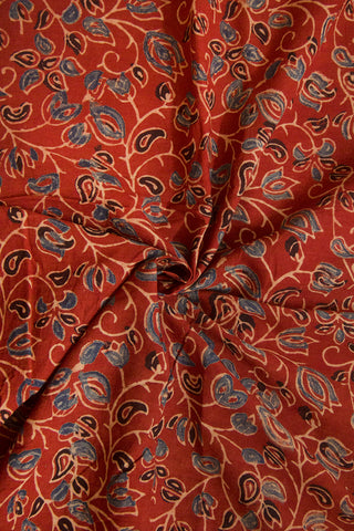 Maroon with Indigo Floral Ajrak Cotton Fabric