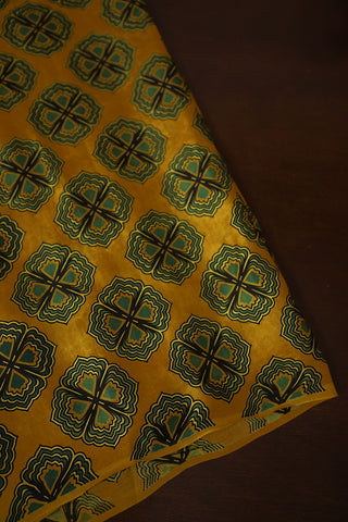Yellow with Green Floral Ajrak Modal Silk Fabric