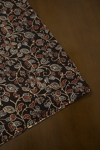 Black with Maroon and Indigo Floral Ajrak Cotton Fabric