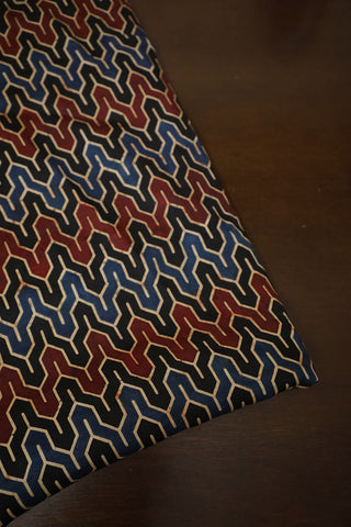 Black with Maroon and Blue Modal Silk Fabric