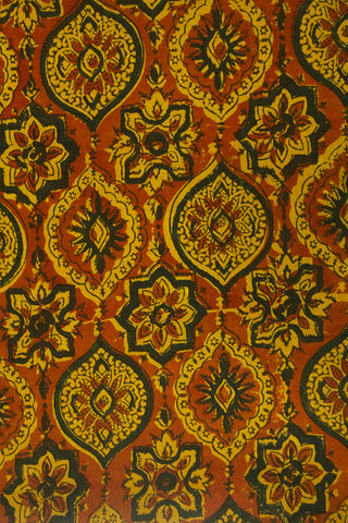 Light Brown with Yellow Intricate Ajrak Cotton Fabric