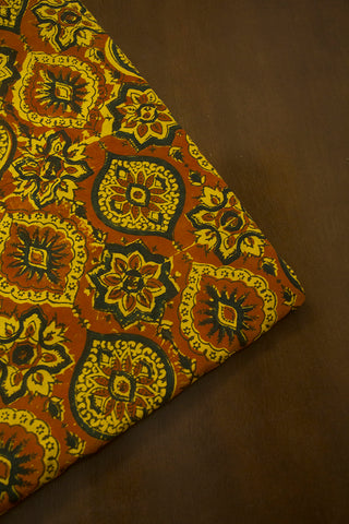Light Brown with Yellow Intricate Ajrak Cotton Fabric-0.5 m