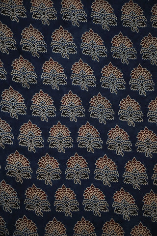 Double Colour Floral in Indigo Ajrak Modal Silk Fabric-2 m