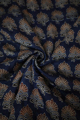 Double Colour Floral in Indigo Ajrak Modal Silk Fabric