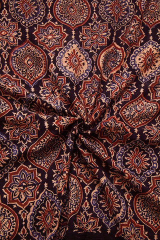 Beige with Indigo Ajrak Cotton Fabric