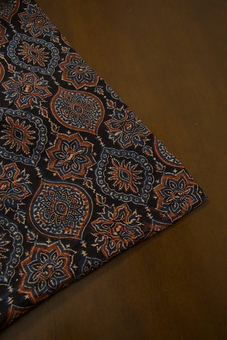 Black Intricate Design Ajrak Cotton Fabric