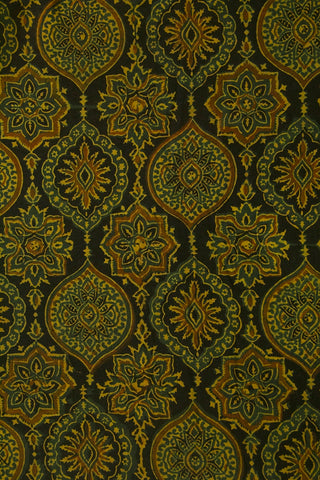 Black with Green Ajrak Cotton Fabric
