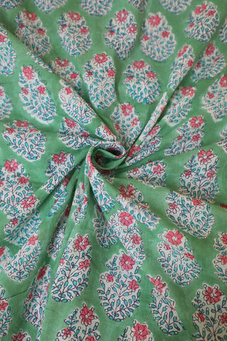 Pink Floral in Light Green Block Printed Mul Cotton Fabric