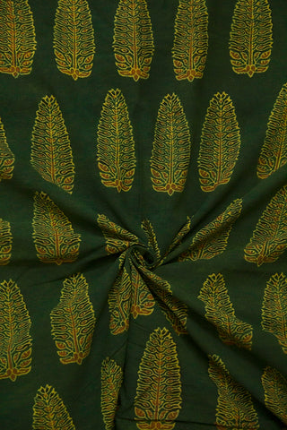 Dark Green with Maroon Leaf Ajrak Cotton Fabric