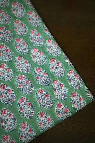 Pink Floral in Light Green Block Printed Mul Cotton Fabric-1.9 m