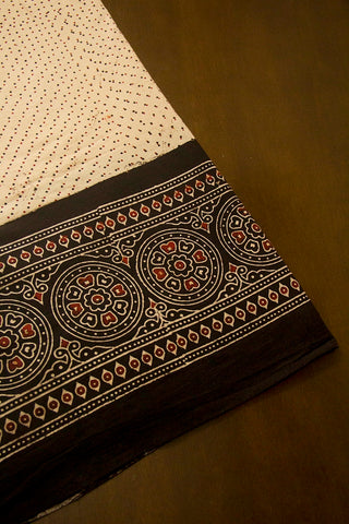 Light Beige with Black Border Ajrak Cotton Fabric