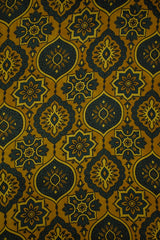 Floral in Yellow Ajrak Modal Silk Fabric