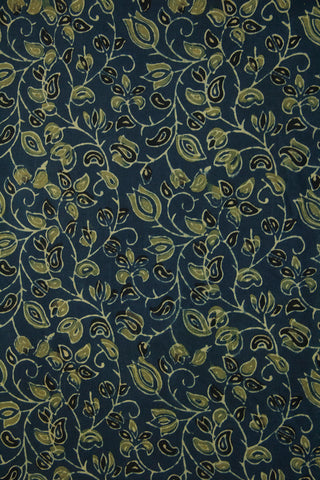 Yellowish Green with Black Floral Ajrak Cotton Fabric