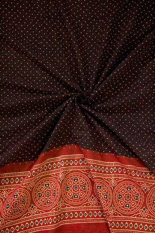 Black with Maroon Border Ajrak Cotton Fabric