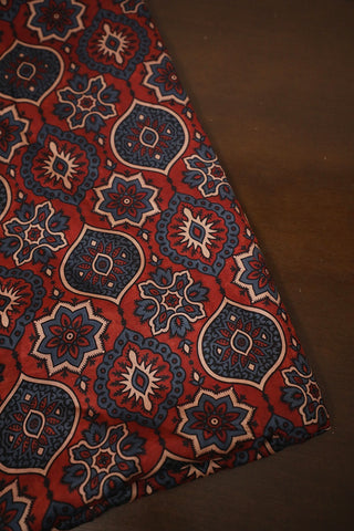 Blue Floral Ajrak Modal Silk Fabric