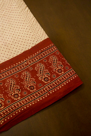 Maroon with Beige Flower Border Ajrak Cotton Fabric
