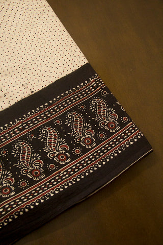 Maroon Flower with Black Border Ajrak Cotton Fabric