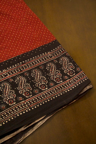 Maroon with Black Flower Border Ajrak Cotton Fabric