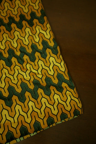 Yellow with Green and Black Ajrak Modal Silk Fabric