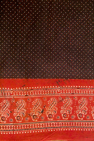 Black with Maroon Flower Border Ajrak Cotton Fabric