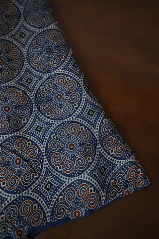 Indigo with Intricate Design Ajrak Modal Silk Fabric