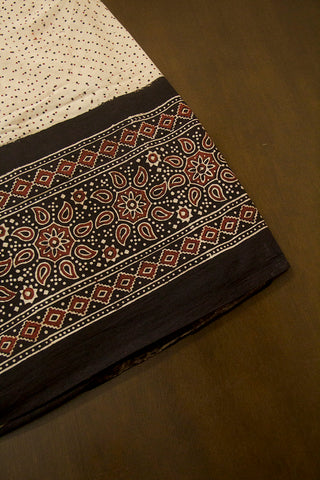 Beige with Maroon Paisley Border Ajrak Cotton Fabric