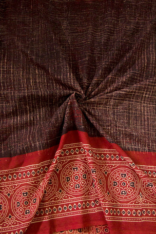 Maroon Flower and Circles Daman Print Ajrak Bordered Cotton Fabric