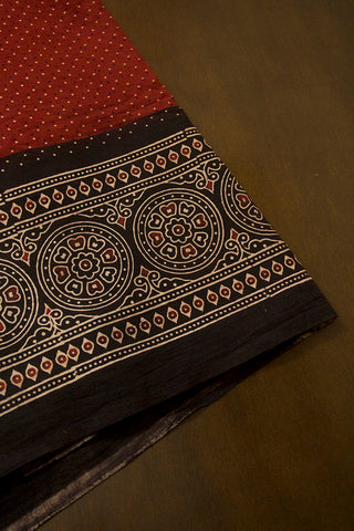 Black Circles Border Ajrak Cotton Fabric