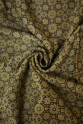 Yellow Small Flowers Ajrak Modal Silk Fabric