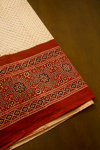 Maroon Paisley Border Ajrak Cotton Fabric