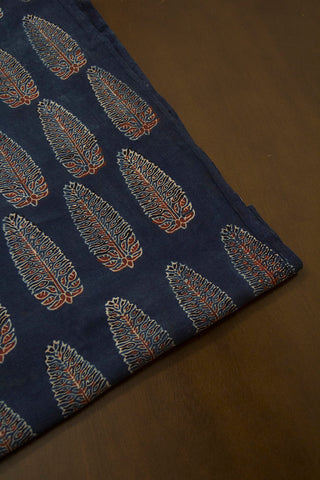 Indigo Blue Leaf Ajrak Cotton Fabric