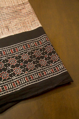 Beige with Black Daman Print Ajrak Bordered Fabric