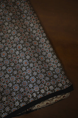 Small Design in Black Ajrak Modal Silk Fabric