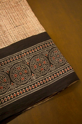 Beige with Black Circles Daman Print Ajrak Bordered Fabric