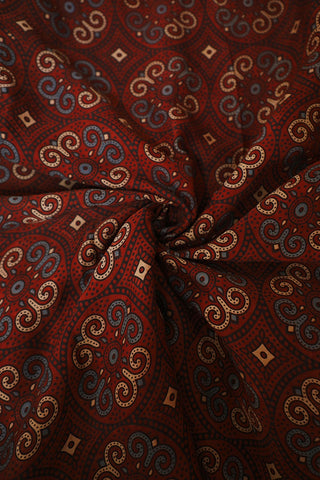 Subdued Maroon with Black Ajrak Modal Silk Fabric