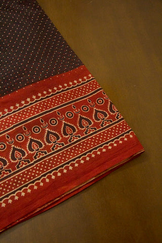 Black with Maroon and Beige Dots Daman Print Ajrak Bordered Fabric