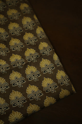 Black with Yellow Floral Ajrak Modal Silk Fabric